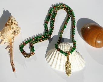 Crochet necklace Green Beaded Necklace Gypsy Necklace Bohemian Necklace Feather Charm Necklace Feather Necklace women bead necklace jewelry