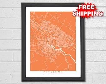 Petaluma Map Art - City Map - California - Travel - Map Print - Street Map Art - Map of Petaluma - Custom Map - Petaluma California