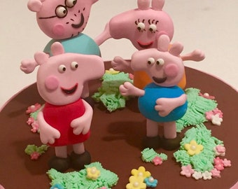 Edible Fondant Peppa Pig & Family - sold together or seperately
