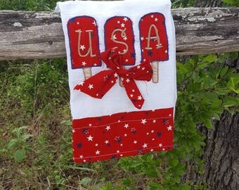 Patriotic Tea Towel, Applique Dish Towel, Embroidered USA Towel, 4th of July, Americana Decor