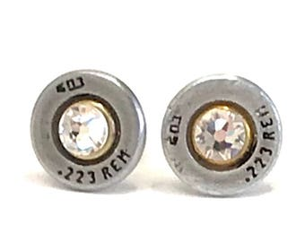 AR 15 Ammo Bullet Stud Earrings with Swarovski Crystals, Women's earrings, Bullet jewelry, Valentine gifts,  Handmade gifts
