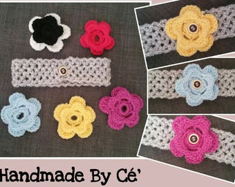 With interchangeable flowers - elastic headband baby headband - baby or child several flowers