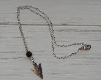 Diffuser necklace with silver arrow charm, silver brass chain 18 inch