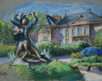 Original pastel drawing; View of the Rodin Museum, Paris France