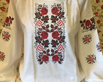 Nice traditional ukrainian embroidered blouse vyshyvanka