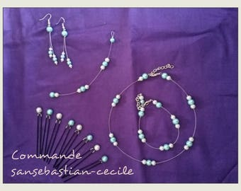 set of 5 wedding white and turquoise pieces