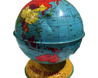 Vintage Tin Toy Globe Bank by J. Chein & Co. Made in U.S.A Mid Century