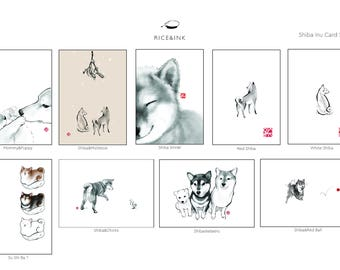 Shiba Inu Gift 9 Card Set, Unique Sumi-e Painting Card, B&W Ink Illustration Japanese Dog lover Zen Art Print Gift Drawing
