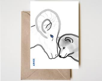 Aries Shiba Card, Horoscope Dog Sumi-e Ink Painting Zen B&W Illustration February Birthday Cute Zodiac Drawing