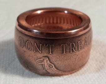 "The "" FAT TIRE LOOK "" Don't Tread On Me. 1oz. 999 Fine Copper Coin Ring. Now With Smaller Sizes!!!!!  ( Rings Have A Protective Sealant"