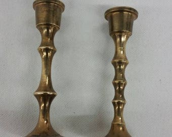 Miniature brass candlestick holders