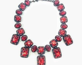 Hollywood Legend - Red & Black Statement Necklace