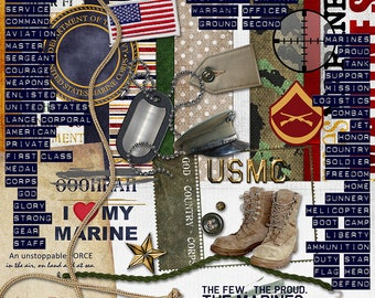"US Marines Scrapbook Kit - ""Semper Fi"" a digital scrapbooking kit for soldiers, military, and Marines in red, white, and blue colors"