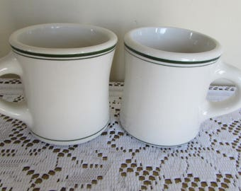 Sterling China Vintage Restaurant Ware Two Coffee Mugs (8 oz) Green Trim