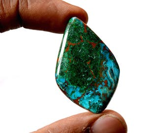 Chrysocolla 46.5 Cts AAA Quality Natural Gemstone Attractive Designer Free Form Shape Cabochon 38x25x6 MM R14110