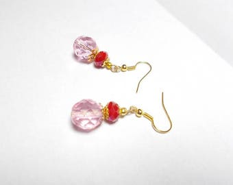Dangling earrings light pink Czech glass beads, fuchsia
