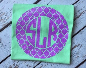 Quatrefoil Monogram Frame Womens Shirt, Quatrefoil Frame Womens Monogrammed Shirts, Personalized Womens Tribal Shirt, Personalized Tee, Ikat