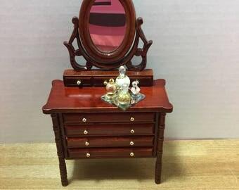 Dollhouse handmade gold vanity perfume tray