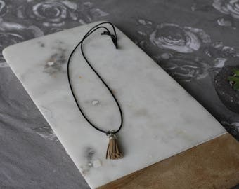 Recycled Leather Single Tassel Handmade Necklace