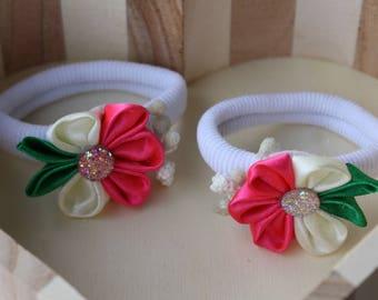 ponytail kanzashi, set 2 hair elastics, two kamzashi hair holders, ponytail holders, floral hair elastics, kanzashi hair flowers, hair ties