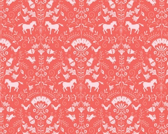 Blend Hill And Dale Thistle Fabric - Coral (Priced by the half yard and cut continuously)