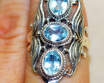 Blue Topaz  & 925 Sterling Silver Ring size 8 by Silver Trend