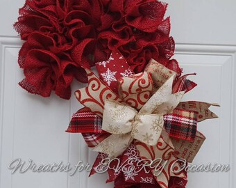 Red Burlap Candy Cane wreath