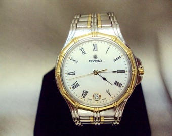 Mens Swiss stainless steel 18k gold CYMA charisma date quartz watch