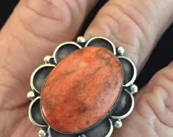 Native American Navajo UI Livingstone Kingman Spiny Oyster Sterling Silver Ring Size 9