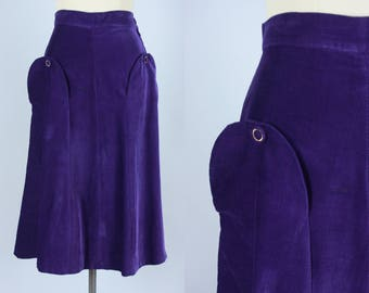Vintage  1940s Skirt | Purple Corduroy Skirt with Buttoned Flaps | Medium