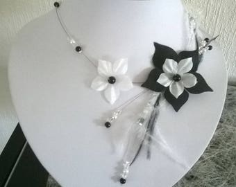 Bridal silk flower bridal necklace Pearl black and white ceremonies ostrich feathers evenings