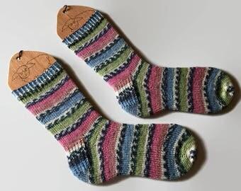 Hand Knit Socks Pink Blue Green