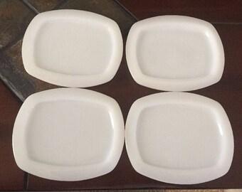 Set of 4 Vintage Milk Glass Rectangular Refridgerator Jar/Dish Lids. ID# 17-43