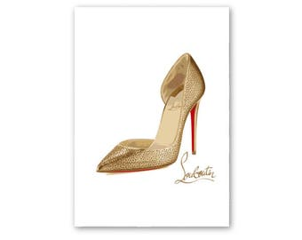 Louboutin art print, Louboutin poster, Louboutin wall art, Louboutin illustration, fashion wall art, fashion illustration, fashion prints