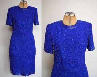 Vintage Stinay Silk Beaded Dress   80s Fashion   Handmade