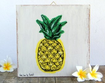 Pineapple Print Decor, Hipster Room Decor, Wall Art Print, Dorm Decor, Rustic Wood Signs, Pineapple Decor, Tropical Art, Botanical Print