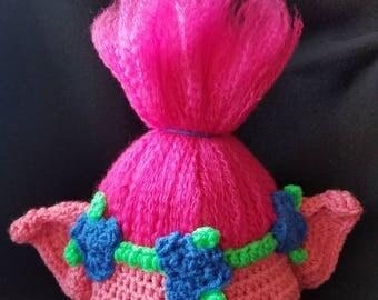 Crochet Poppy Troll Hat