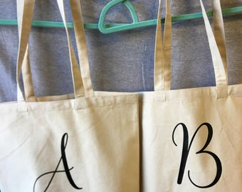 Initial Canvas Tote Bag