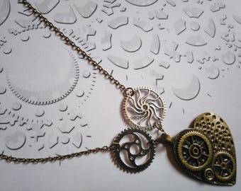 Necklace bronze and silver gears and heart Steampunk Gothic vintage style wheel gear steampunk gears