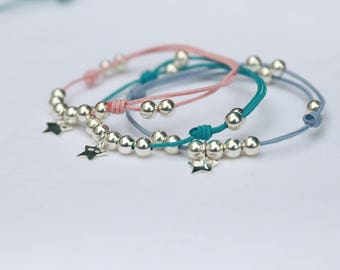 Bracelet Pink Pearl bead and star in Silver 925