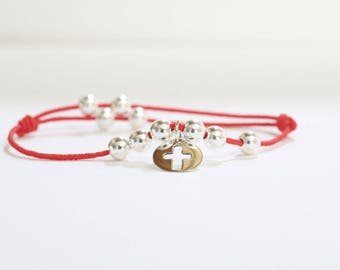 Red cord and 925 sterling silver cross bracelet