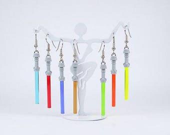 Star Wars LEGO® Earrings - Lightsaber different colors, grey hilt