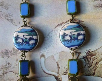 "Dangle earrings ""Tancho"" porcelain illustrated, Japan, Czech glass blue, bronze, pearl beads"