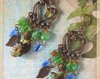 "Earrings ethnic ""Agrigento"" copper filigree, beads and Czech glass flowers, lampwork"