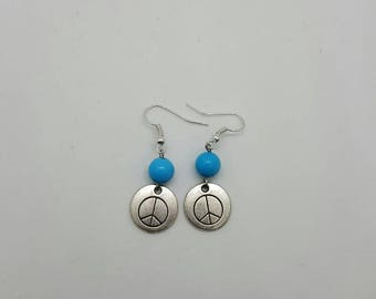 Turquoise peace earrings  (ER076)