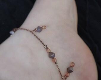"""Ankle bracelet """"Rosegold - II"""""""