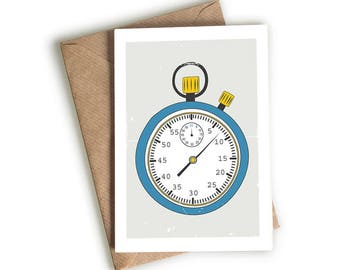 Hand-drawn Stopwatch Card - Time - Sporty - Quirky Card - Hand-drawn - Illustrated & Hand-drawn Stationery - Made in UK - Blank Card