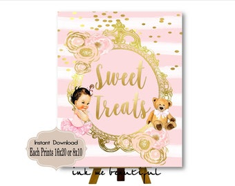 PRINTABLE tutu cute, Princess Baby Shower Candy Buffet Sign Prints 16X20 or 8X10, Princess Baby Shower Decor, Babies are Sweet, Take a Treat