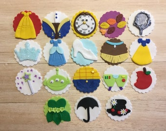 Disney inspired fondant cupcake toppers, toy story, cinderella, mary poppins, tinker bell, beauty and the beast, Disney fondant,
