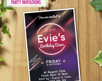 50x Personalised Disco Party Invitations with Envelopes